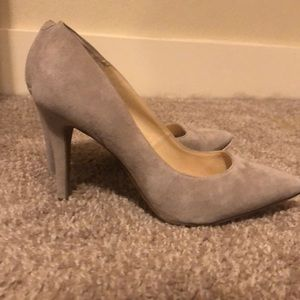 Gray suede pumps from Vince Camuto.